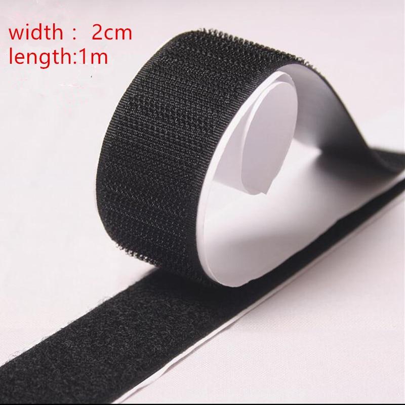 2 Rolls Black Strong Self Adhesive Hook Loop Tape Fastener Sticky 1M 3ft
