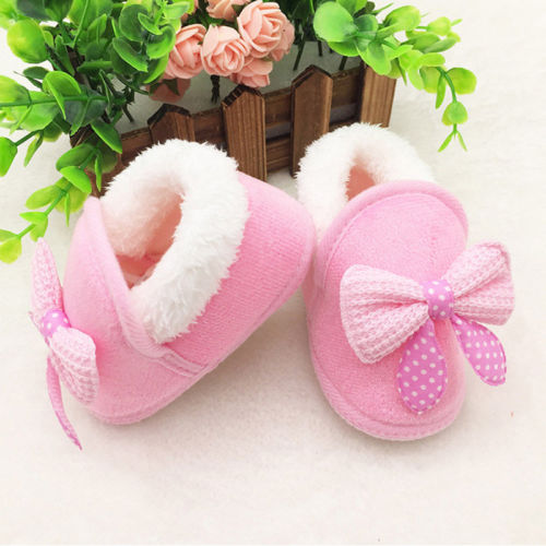 Newborn Infant Boy Girl Snow Boots Kid Baby Winter Fur Prewalker Warm Crib Shoes First Walker