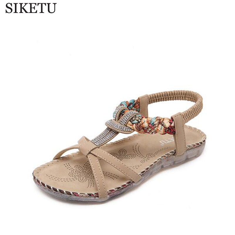 SIKETU Large size national wind sandale femme Bohemia Crystal Female summer shoes flat shoes women sandals sandalias mujer z71 кеды keddo keddo ke037amudt16