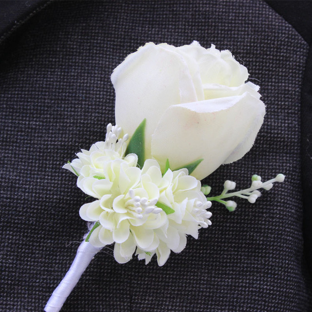 Weddingbobdiy boutonniere ivory groom groomsman best man rose weddingbobdiy boutonniere ivory groom groomsman best man rose flowers wedding bouquet accessories party bride suit decoration mightylinksfo Image collections
