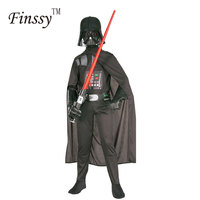 Darth Vader de Star Wars Darth Vader Traje para As Crianças Macacão Roupa Preta Com Capa Do Feriado Do Natal Cosplay para Meninos Das Meninas
