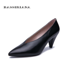BASSIRIANA 2019 new shoes woman  natural leather Medium heels Classic pointed dress Free shipping