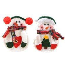 5Pcs/Lot X! 8pcs/set Xmas Decor Snowman Kitchen Tableware Holder Pocket Dinner Cutlery Bag