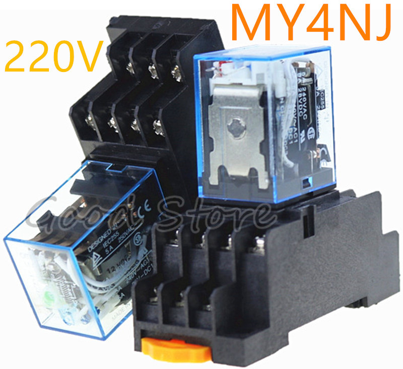 10PCS MY4NJ AC DC 220V Coil 5A 4NO 4NC Green LED Indicator Power Relay DIN Rail 14 Pin time relay with socket base 10 pcs dc 220v coil 4pdt green led general purpose power relay w socket base