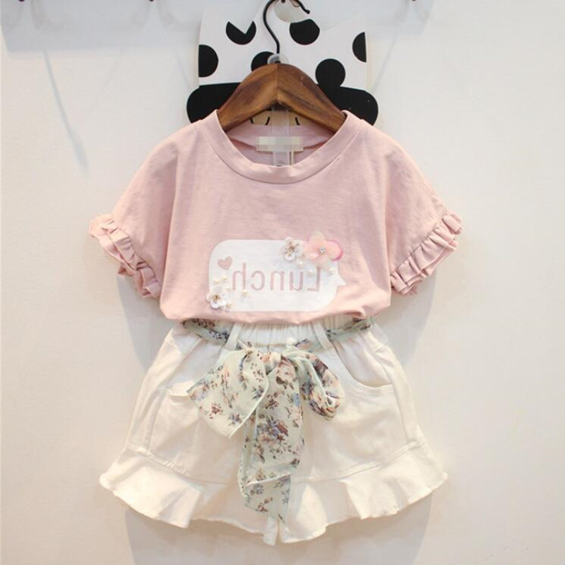 Baby Girl Clothes Hot Summer New Girls 39 Clothing Sets Kids Bay clothes Toddler Chiffon bowknot short shirt Pants in Clothing Sets from Mother amp Kids
