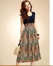 e8eee35d900c 1pcs/lot free shipping Women's Casual Clothing Bohemian Fashion Vintage  Print Patchwork Women Long Summer