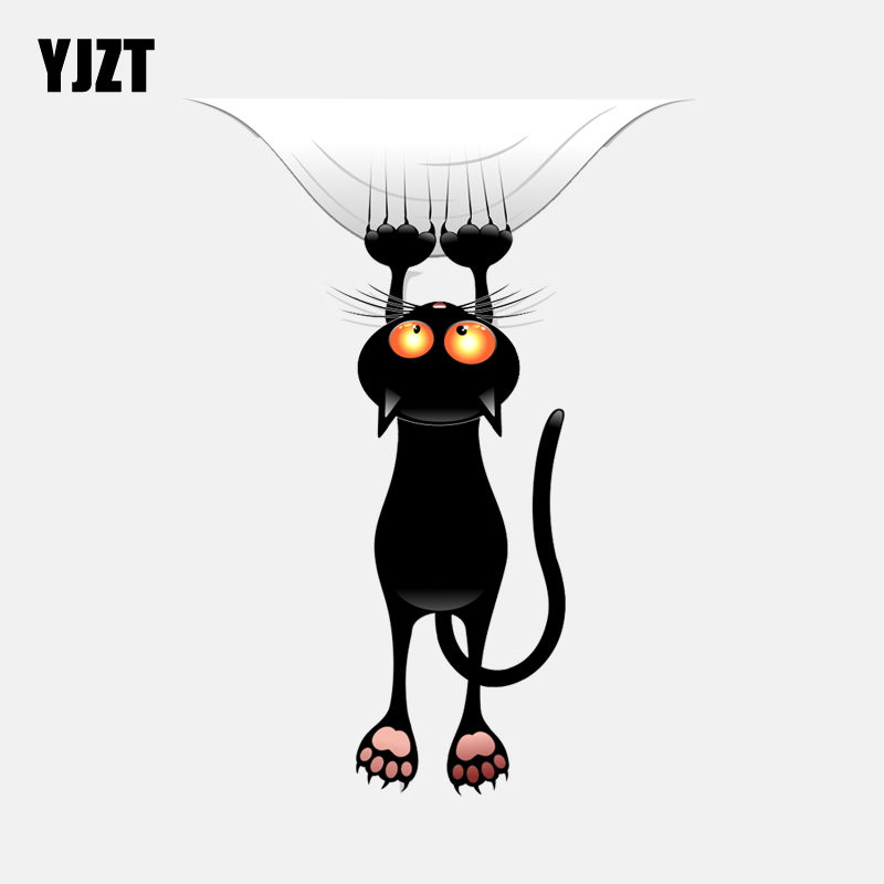 YJZT  12.3CM*16.1CM   Window Decoration Black Cat Catches Down Decal PVC Car Sticker 11-00965