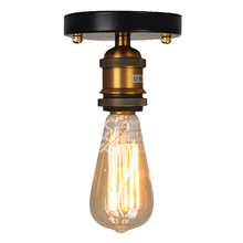 цена на Wholesale ceiling lamp aisle balcony small bedroom American style retro industrial light ceiling lamp loft copper lamp holder