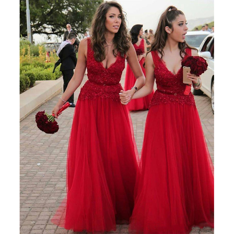 los angeles lace up in another chance Deep V Neck Red Bridesmaid Dresses A Line Lace Sequins Sleeveless Wedding  Guest Dress Custom Made Prom Gowns