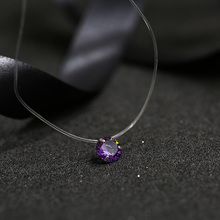 FYM 9 color Dazzling Zircon Necklace Invisible Transparent Fishing Line Simple Pendant Necklace Jewelry for women party