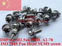 Stainless Steel SEMS screws M2.5x6 Pan Head 1# Phillips Driver Polished ROHS 100 pcs