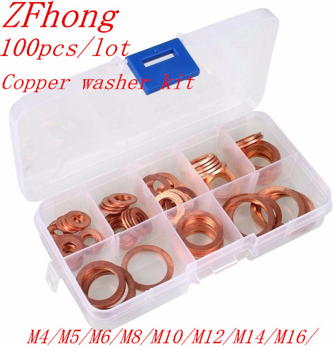 100pcs M4-M14 Professional Assorted Copper Washer Gasket Set Flat Ring Seal Assortment Kit with Box For Hardware Accessories100pcs M4-M14 Professional Assorted Copper Washer Gasket Set Flat Ring Seal Assortment Kit with Box For Hardware Accessories