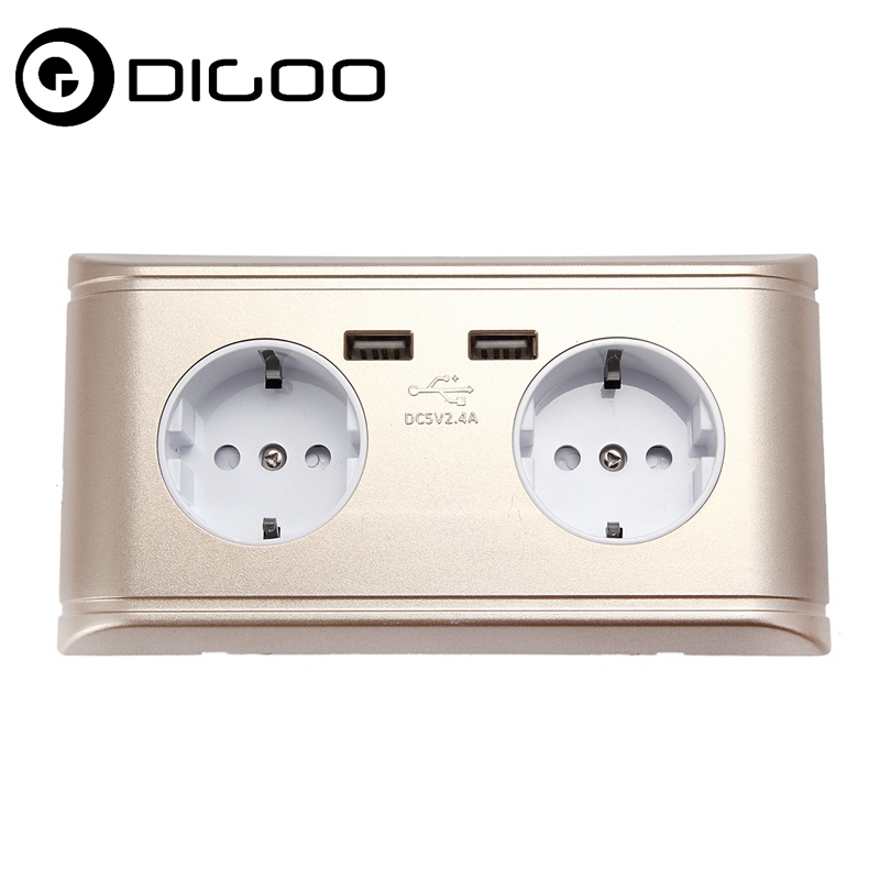 Digoo DG-OL4 Double Socket Dual USB Port 2.4A Wall Charger EU French Plug Socket Power Outlet Strips for Smart Home Automation new south africa power and usb charger pop up desk socket 100 pcs set