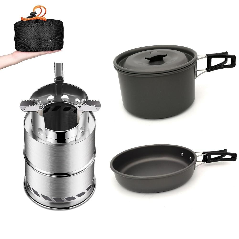 1-2 personnes en plein air Camping cuisine ensemble Portable cuisinière Camping casseroles bol cuisinière cuisinière pique-nique barbecue voyage