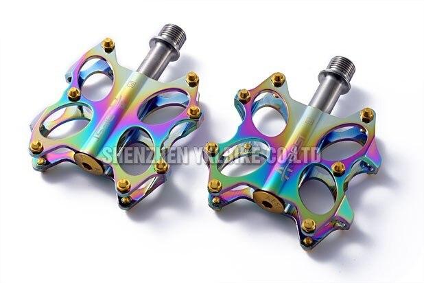 Aest Bike MTB BMX Platform Flat Pedals CNC Titanium Spindle Ti Axle Rainbow