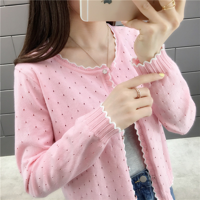 OHCLOTHING 2019 Short Design Thin Cardigan Women's Cutout Sunscreen Air Conditioning Shirt Sweater Knitted Outerwear Small Cape