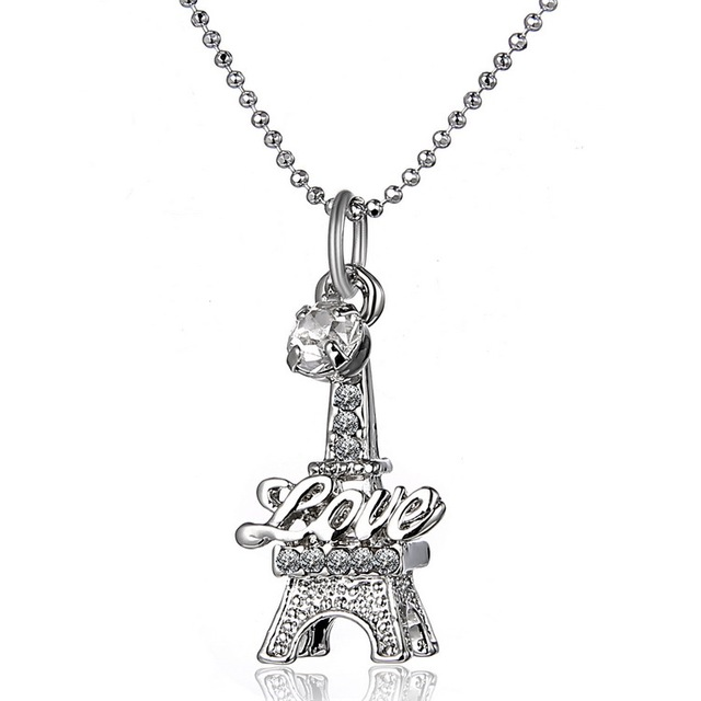 Big eiffel tower pendant necklace rhinestones silver beads chain big eiffel tower pendant necklace rhinestones silver beads chain necklace paris sweater necklace women fashion jewelry aloadofball Images