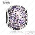 2016 Luces Pavimenta Purple Pink CZ Beads Fit Pandora Charms Pulseras Originales Luces de Plata de ley 925 Del Grano Para La Joyería