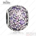 SHEALIA Pave Purple Pink CZ Lights Beads Fit Pan Charms Bracelets Original 925 Sterling Silver Lights Bead For Jewelry Making