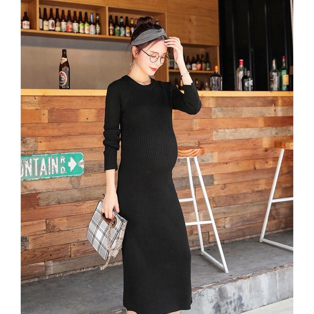 Hiver femme enceinte à manches longues chandails robe maternité femme Slim Sexy robe de soirée couleur unie fond robe pour la grossesse