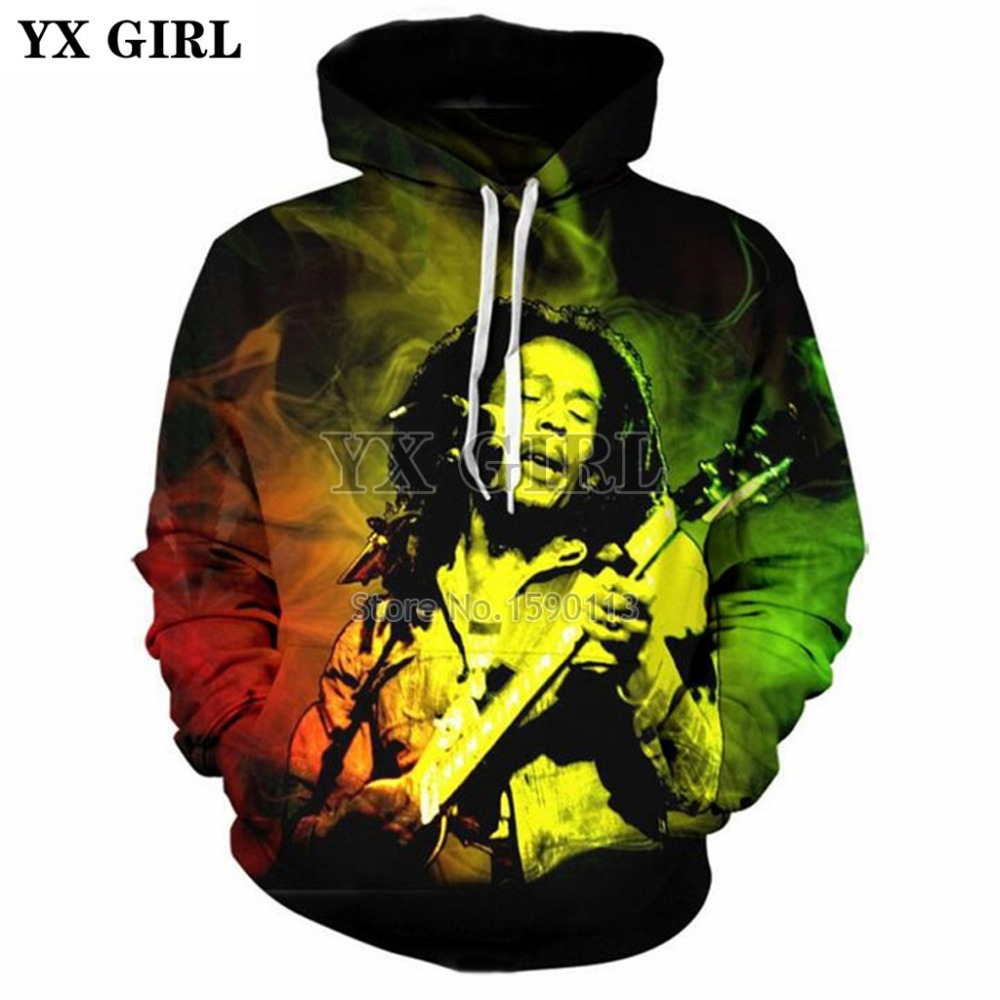 YX GIRL 2018 New Fashion hoodies Men Womens Hip-hop Sweatshirt Reggae Bob Marley 3d Print Hoodie casual Sportswear