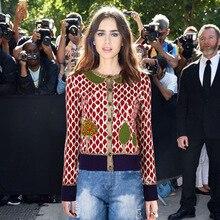 2018 cárdigan de pasarela suéter de otoño para mujer chaqueta de diseñador  de lujo de manga larga hojas árboles de punto patrón . 7847ecf26e2f2