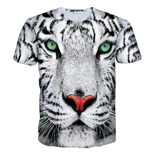 Для мужчин хип-хоп 3D тигровым принтом короткий рукав экипаж круглый Средства ухода за кожей шеи Топ цифровой футболка