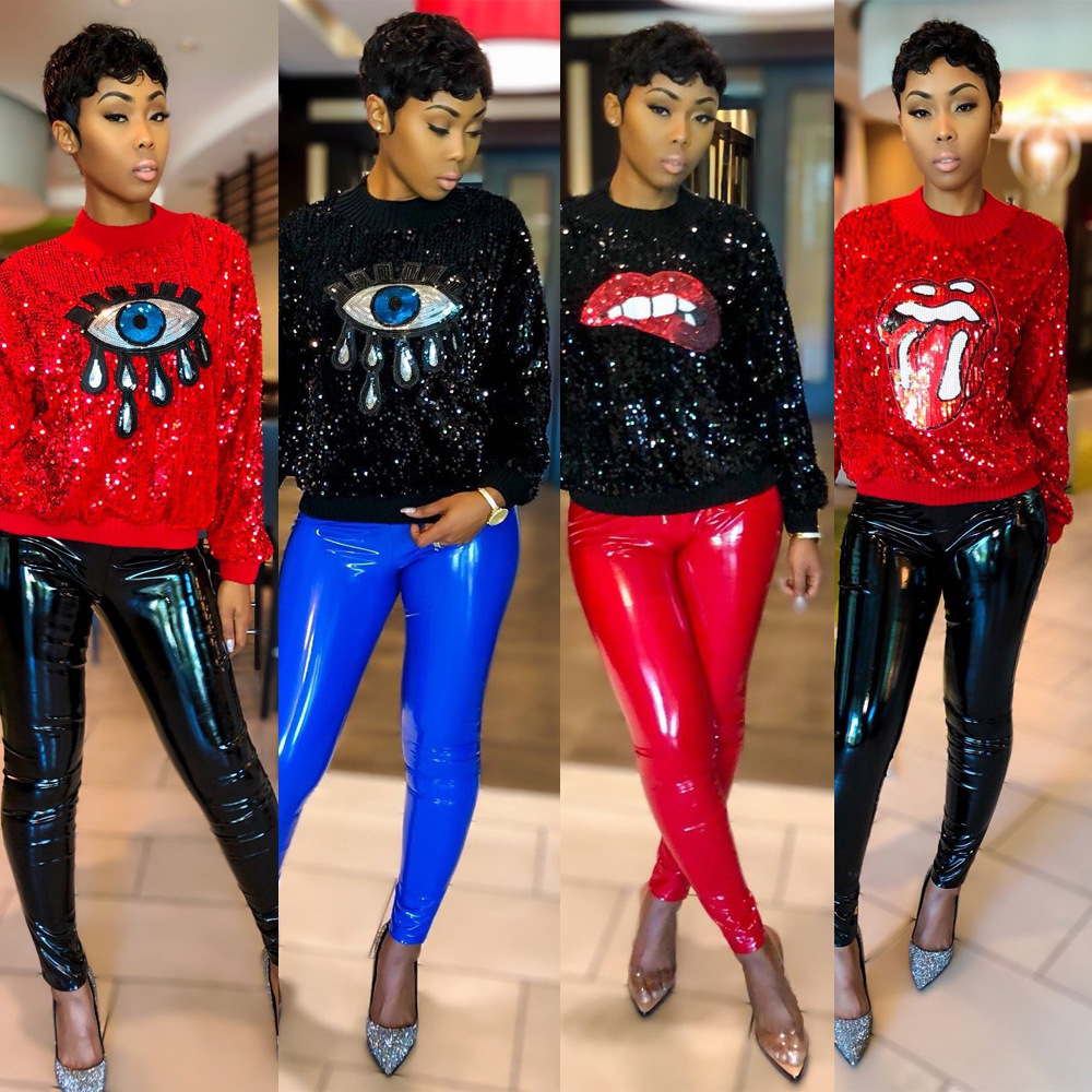 2019 New Sexy Sequins Women Set 2 Piece Outfits Big Lips Eyes T Shirts Knee Length Pants Streetwear Red Black Blue Yellow Pink Women's Clothing Women's Sets