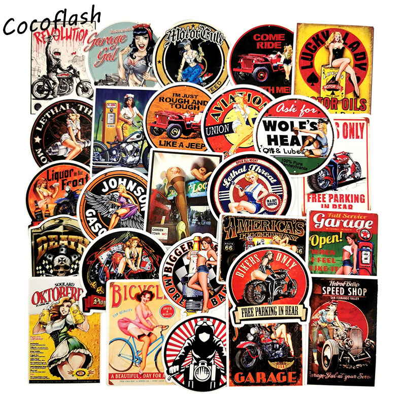 30PCS Retro Poster Motorcycle Girl Personality Sticker For Laptop Motorcycle Skateboard Luggage Decal Toy Sticker
