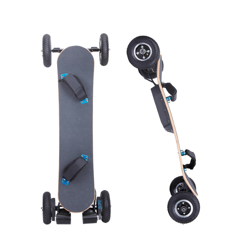 Off road big wheels fast electric 4 wheel skateboard with motor control\/maple deck electric
