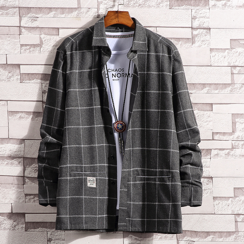 The 2019 autumn and winter youth new style of fashionable male character stripe is loose big code long sleeve trend joker shirt in Casual Shirts from Men 39 s Clothing