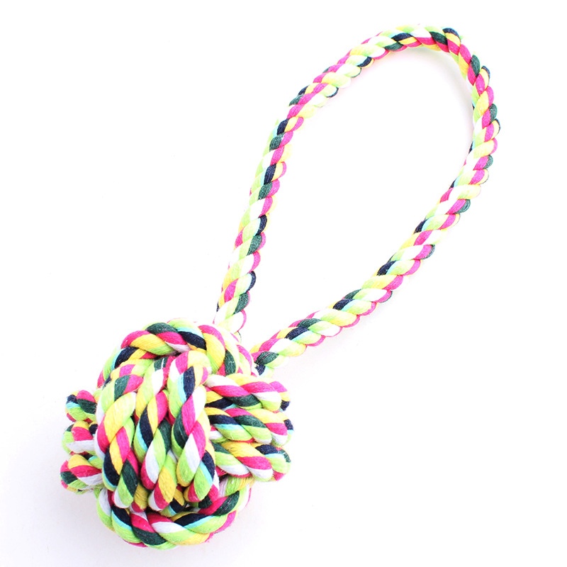 2016 Hot Rope Braided Ball Dog Chew Toys Puppy Cotton Rope Chewing Ball Bone Knot Indestructible Dog Toys for Aggressive Chewers