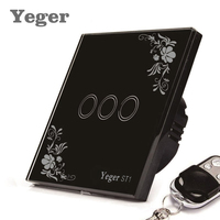 Yeger EU Standard Smart Wall Switch Remote Control Switch 3 Gang 1 Way Wireless Remote Control