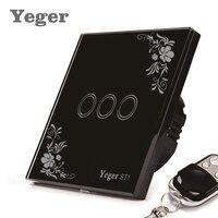 Yeger EU Standard Smart Wall Switch Remote Control Switch 3 Gang 1 Way Wireless Remote Control