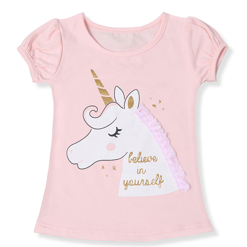 Toddler Kids Girls Unicorn Party Tops Summer Short Sleeve T-shirts For Girl Clothes Casual TShirt 3 4 5 6 7 8 Year Baby Clothes(China)