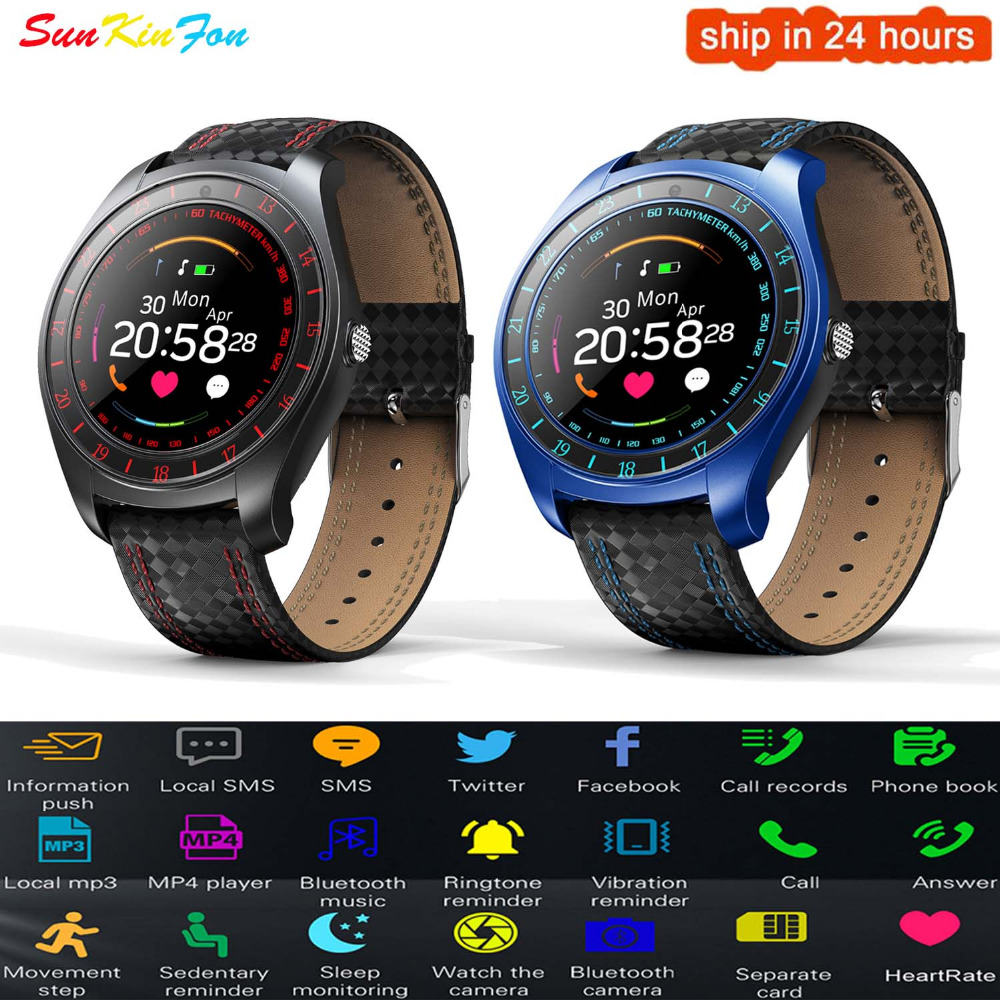 SunKinFon <font><b>V10</b></font> Smart Watch Men Bluetooth <font><b>Smartwatch</b></font> Pedometer Camera Heart Rate Monitor 2G SIM Card Wristwatch for Android Phone image