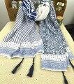 La Primavera Y el Otoño Nueva Oblique Rayado Floral Comercio Poco Mens Blanco de Seda de La Bufanda de La Borla Mantón de La Bufanda de Color Azul