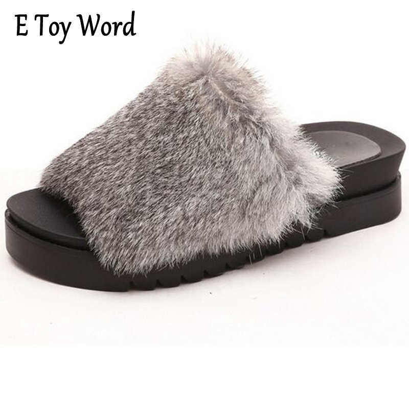 E TOY WORD Fur Slippers Platform Beach Sandals 2017 Creepers Autumn Winter Flip Flops Casual Flats Slip On Shoes Woman XWT542 lanshulan wedges gladiator sandals 2017 summer peep toe platform slippers casual glitters shoes woman slip on flats creepers