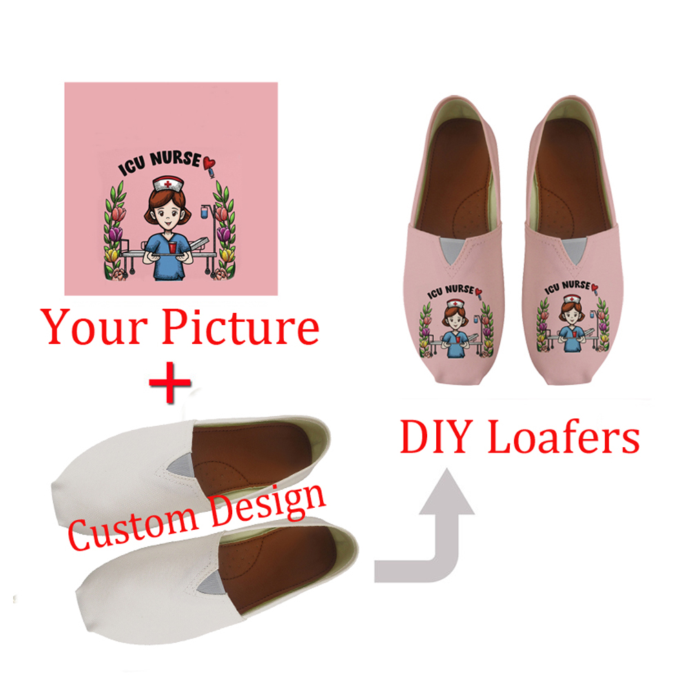 FORUDESIGNS Custom Picture Or Logo Women's Casual Shoes Flats Loafers Canvas Fashion Women Summer Light Comfortable Girls Lazy