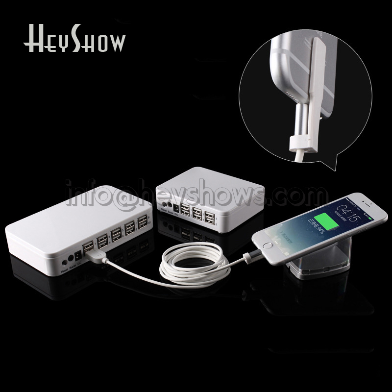 6 8 10 Port Mobile Phone Security Stand Tablet Display Alarm iphone Anti-theft System Ipad Charging Box For Apple Retail Store 6 set lot remote control anti theft lock alarms charging base for android micro usb smartphone retail store security display