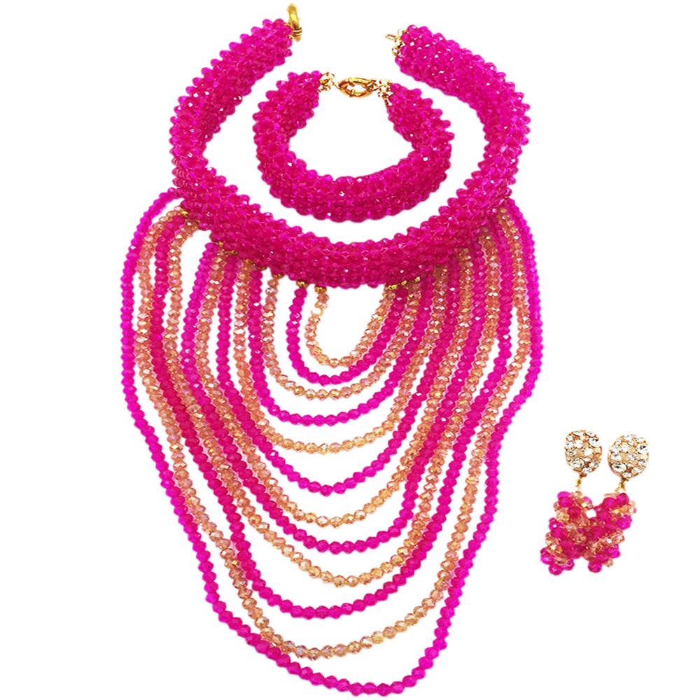 Trendy Women Party Gifts Nigerian Wedding African Beads Jewelry Set Fushia Pink Crystal Beaded Bib Necklace Set WDK-011 цена и фото