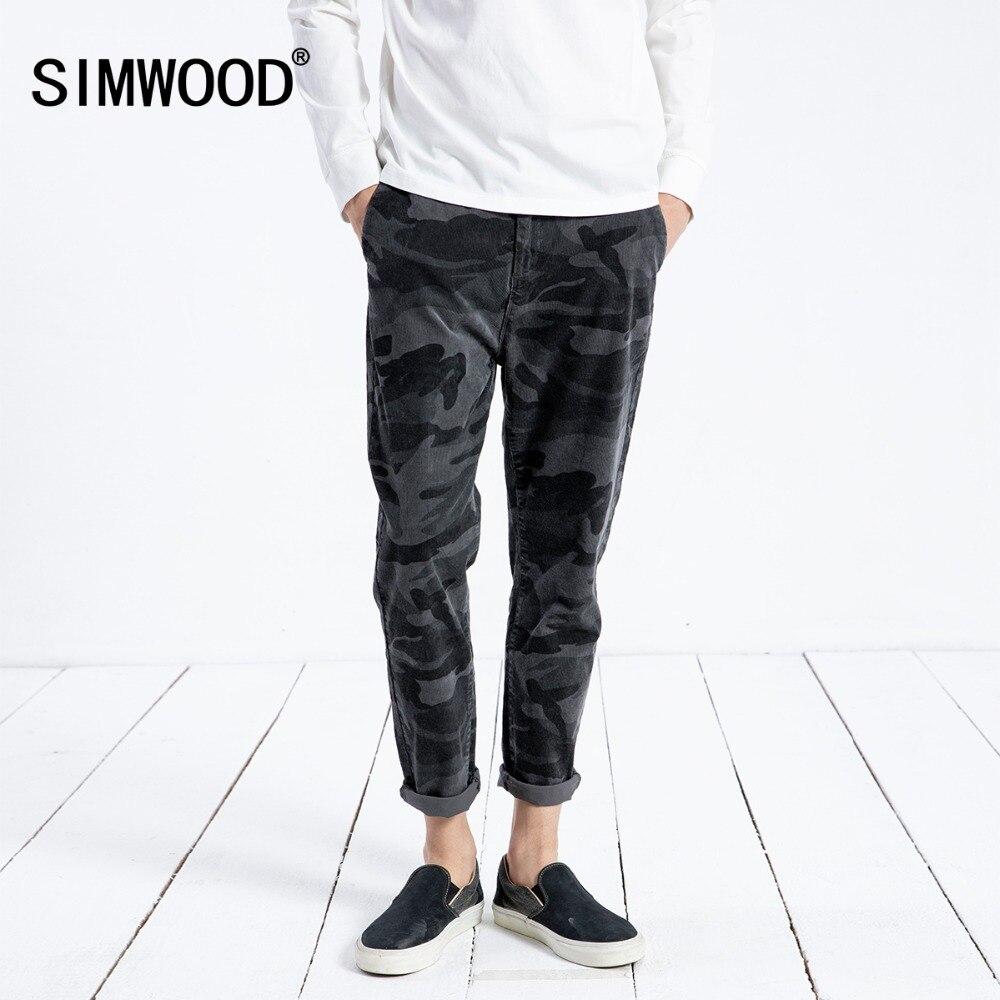 SIMWOOD 2018 зимние повседневные штаны для мужчин камуфляж модные вельветовые Slim Fit плюс размеры теплые брюки брендовая одежда 180396