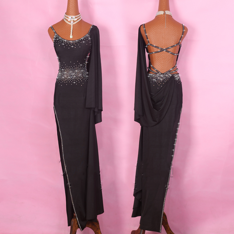 New High Quality Latin Dress For Women Black Long Dress Rhinestone Elastic Tango Dress Ballroom Dance Competition Dresses BL1898