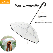 Petshy New Transparent Pet Umbrella Dog Cat Portable Removable Rain Gear With Leads Leash Outdoor Raincoat Pets Accessories