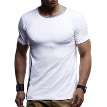 2019 summer new foreign trade fashion men's casual short-sleeved T-shirt European code bottoming T-shirt male