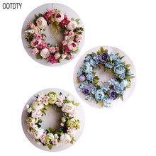 OOTDTY Peony simulated garland Rattan ring decoration Photography props Wedding wreath Flower home door Decoration