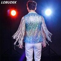 Прилив певец рок DJ DS костюм бар для ночного клуба танцор Джаз для выступления наряд кисточки блестки sparkly Кристалл жилет костюм
