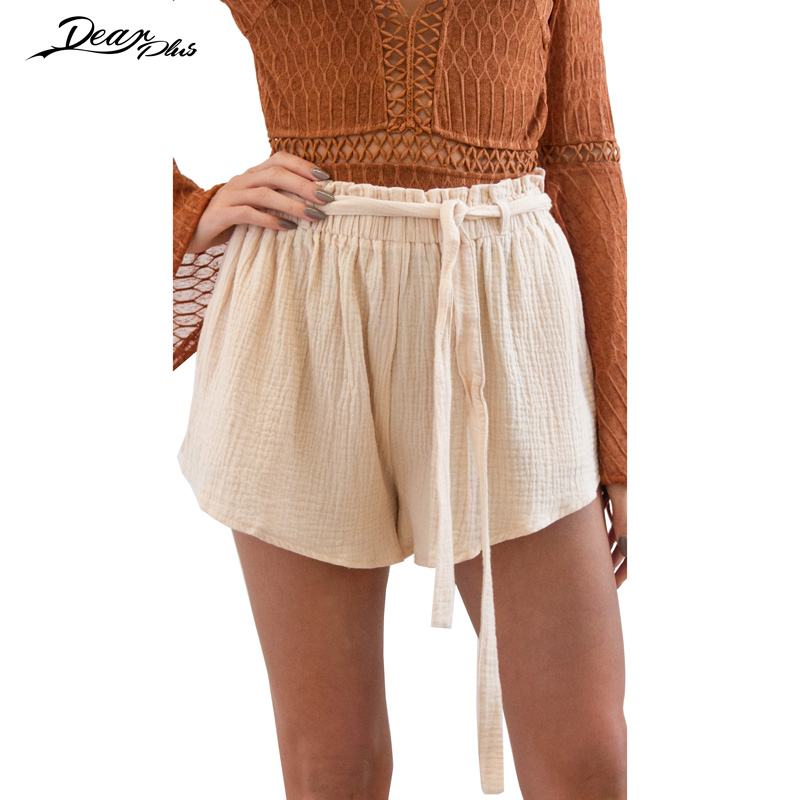 Women Summer Elastic Waist Loose Shorts Ladies High Waist