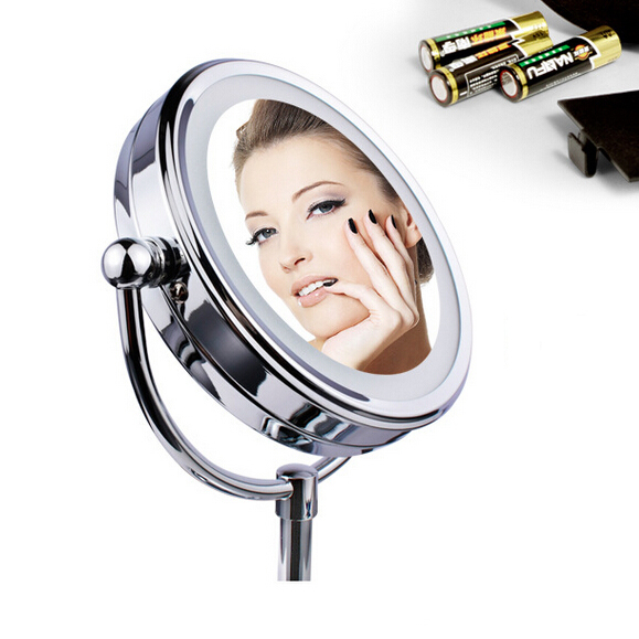 Led Cosmetic Mirror with Light  Stainless Steel Makeup Mirror with Light Table Stand Mirror cosmetic make up illuminated desktop makeup stand mirror with 21 led light