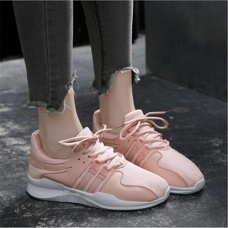 2018 White Pink Air Mesh Student Breathable Lace Up Outdoor Women Shoes Lightweight Woman Vulcanized Sneakers Shoes Tenis AXD236